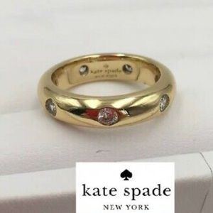 Kate Spade♠️ Gold Tone Crystal Band Ring Size 7 R
